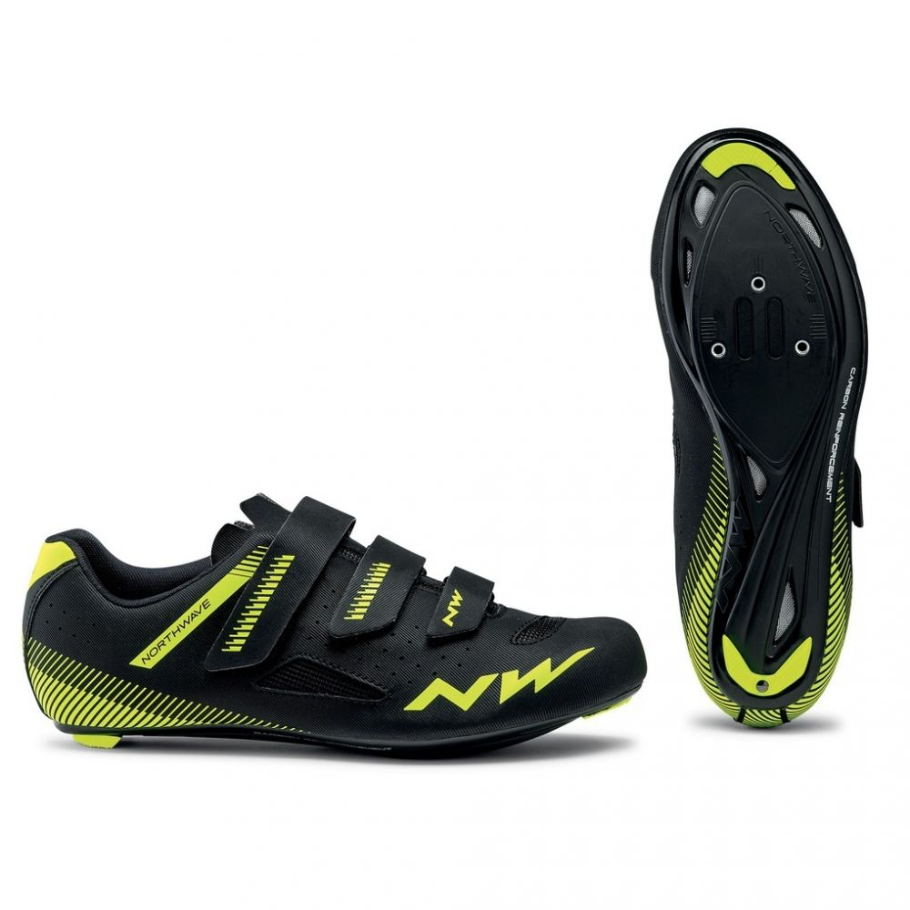 Zapatillas Northwave Core Negro-Amarillo Fluo Road
